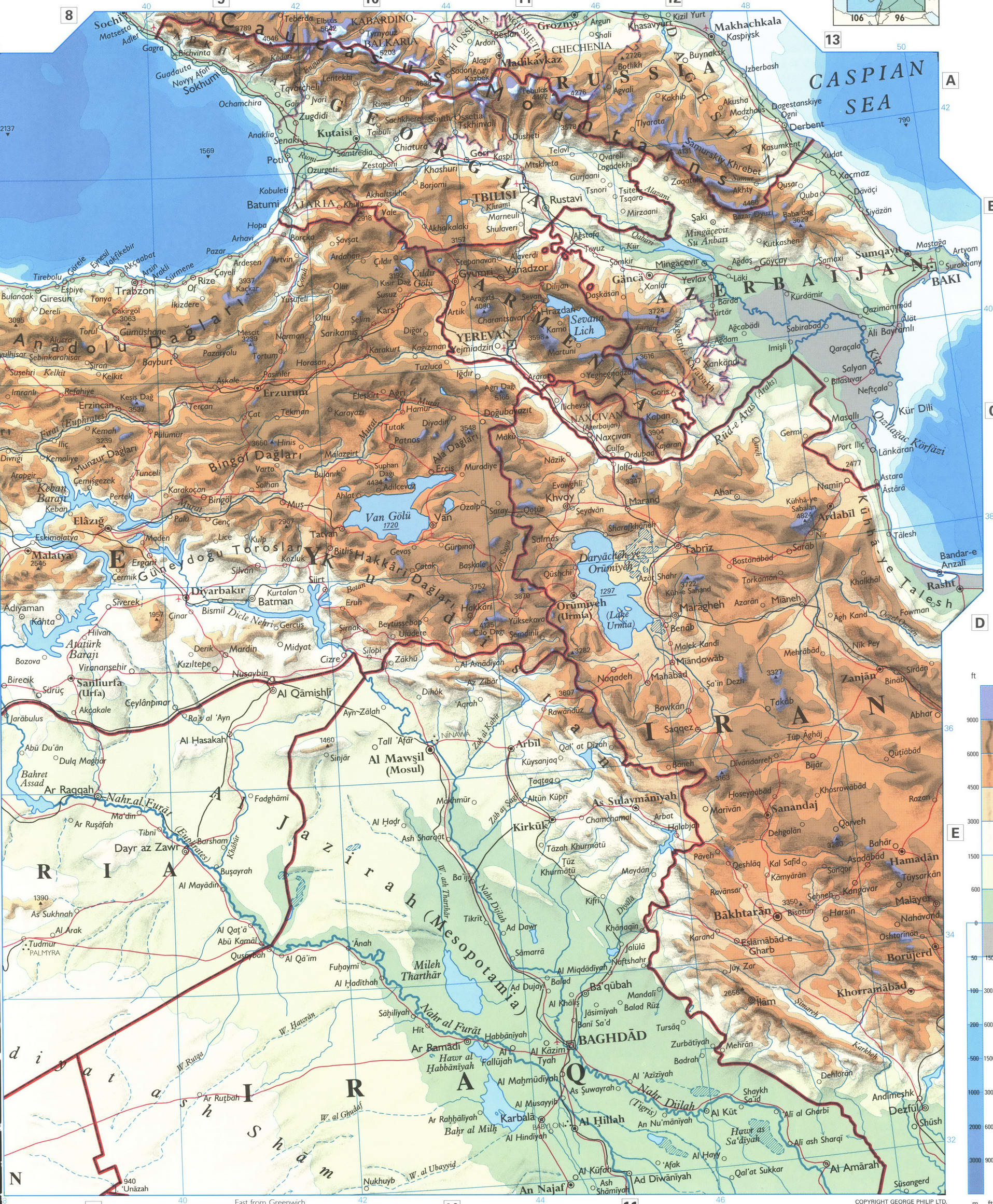 Turkey and Syria detailed map