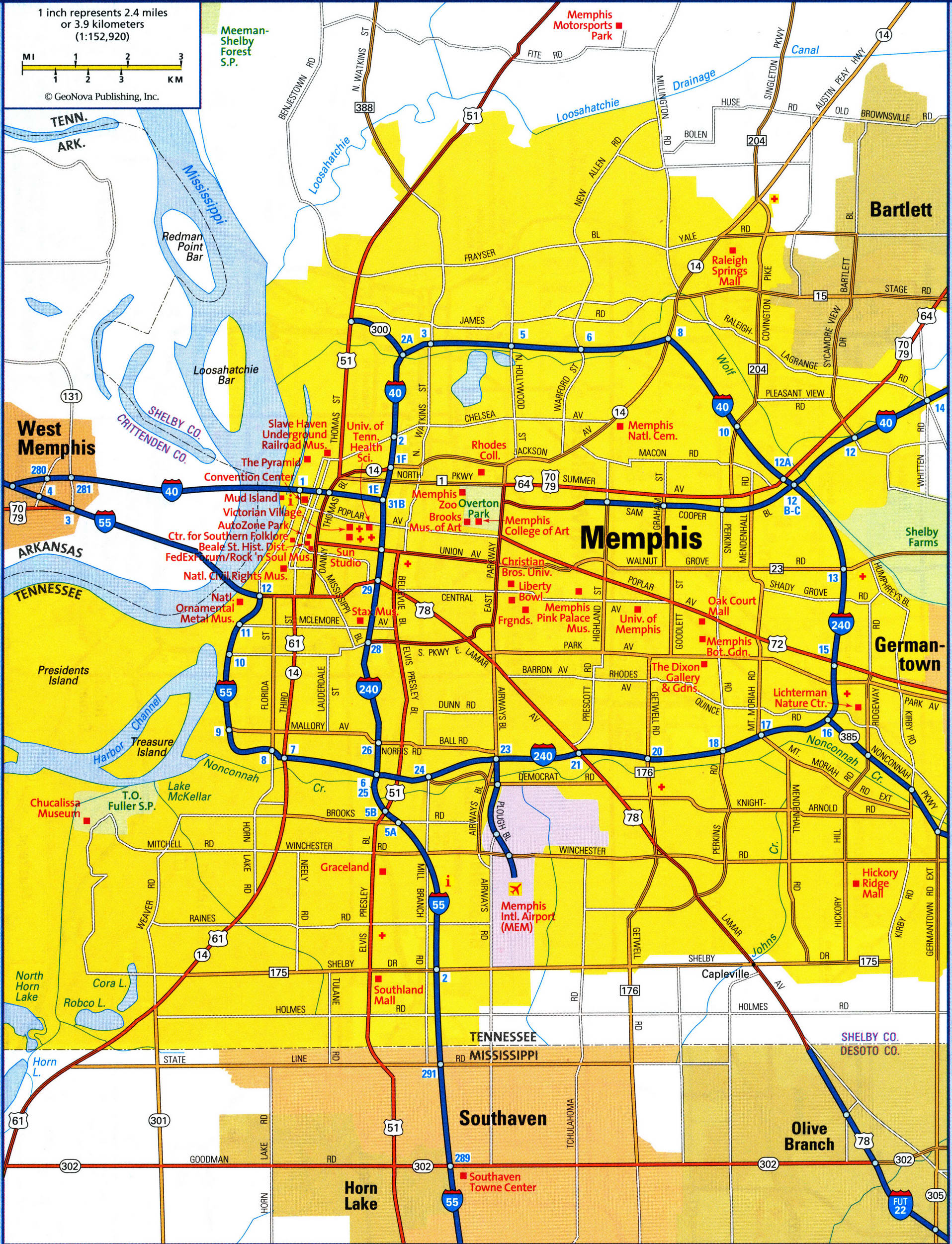 map of Memphis city