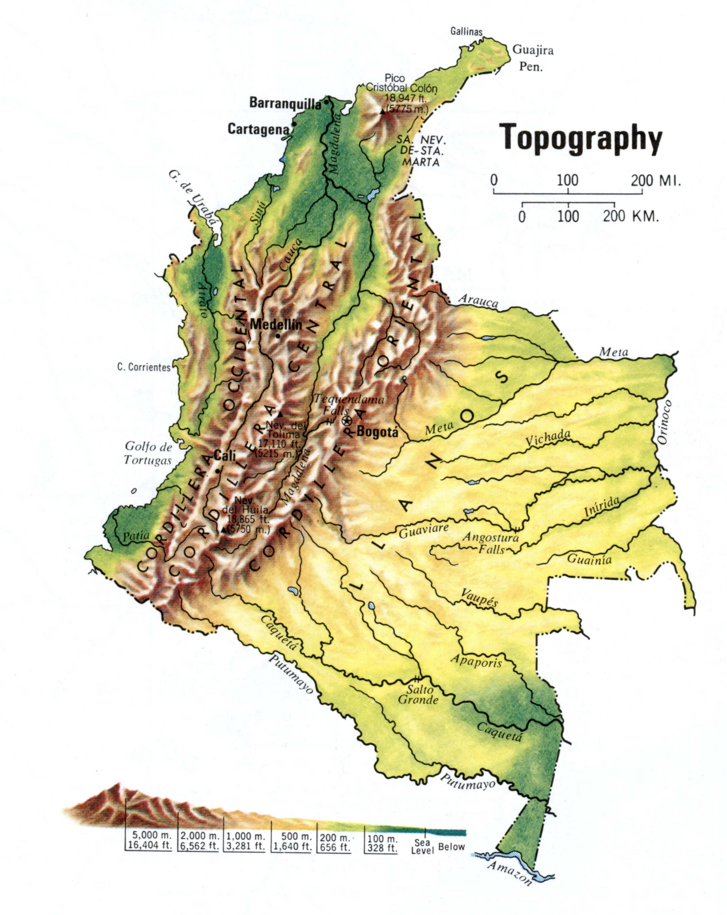 Colombia topograhic map