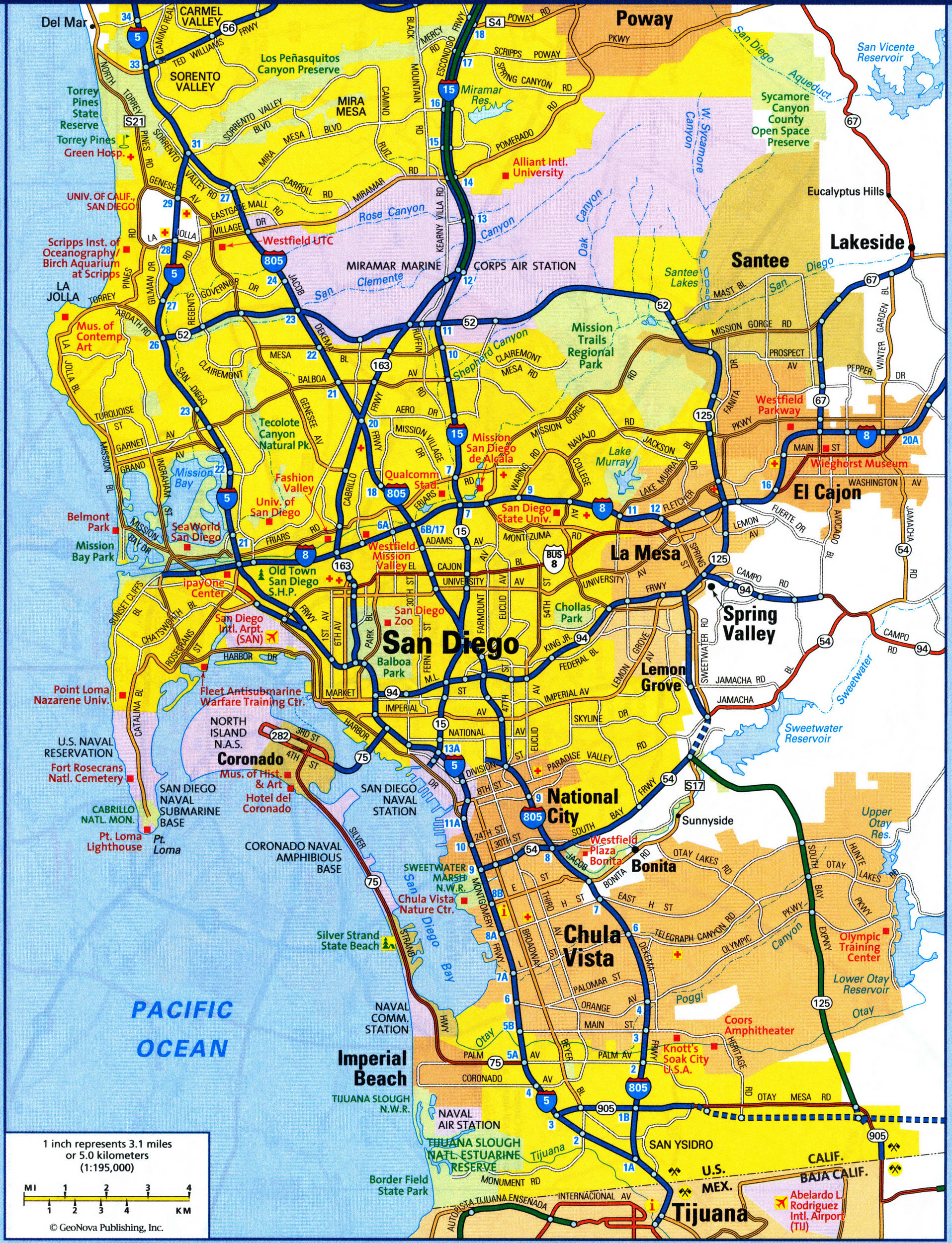 map of San Diego city