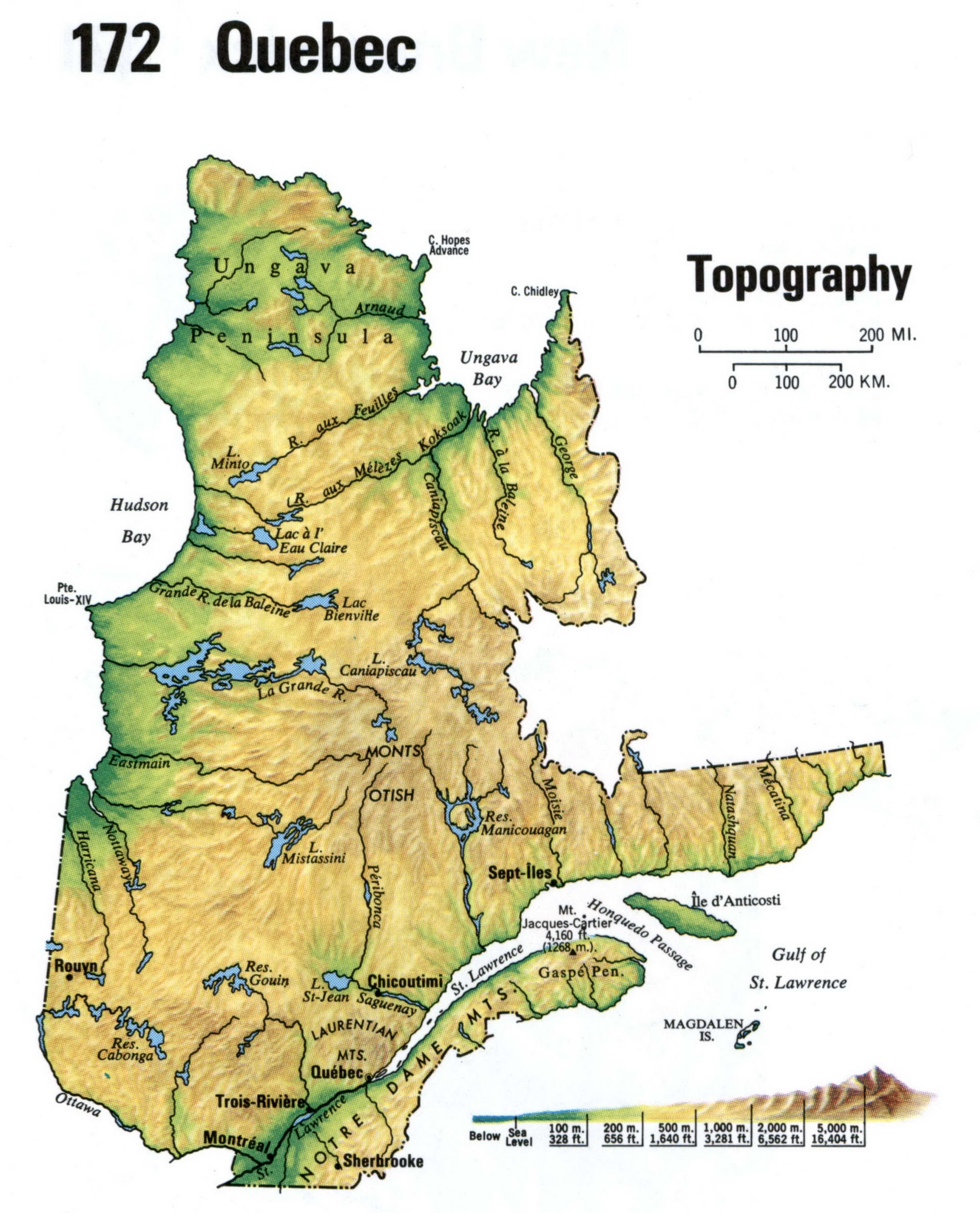 Topographic map of Quebec