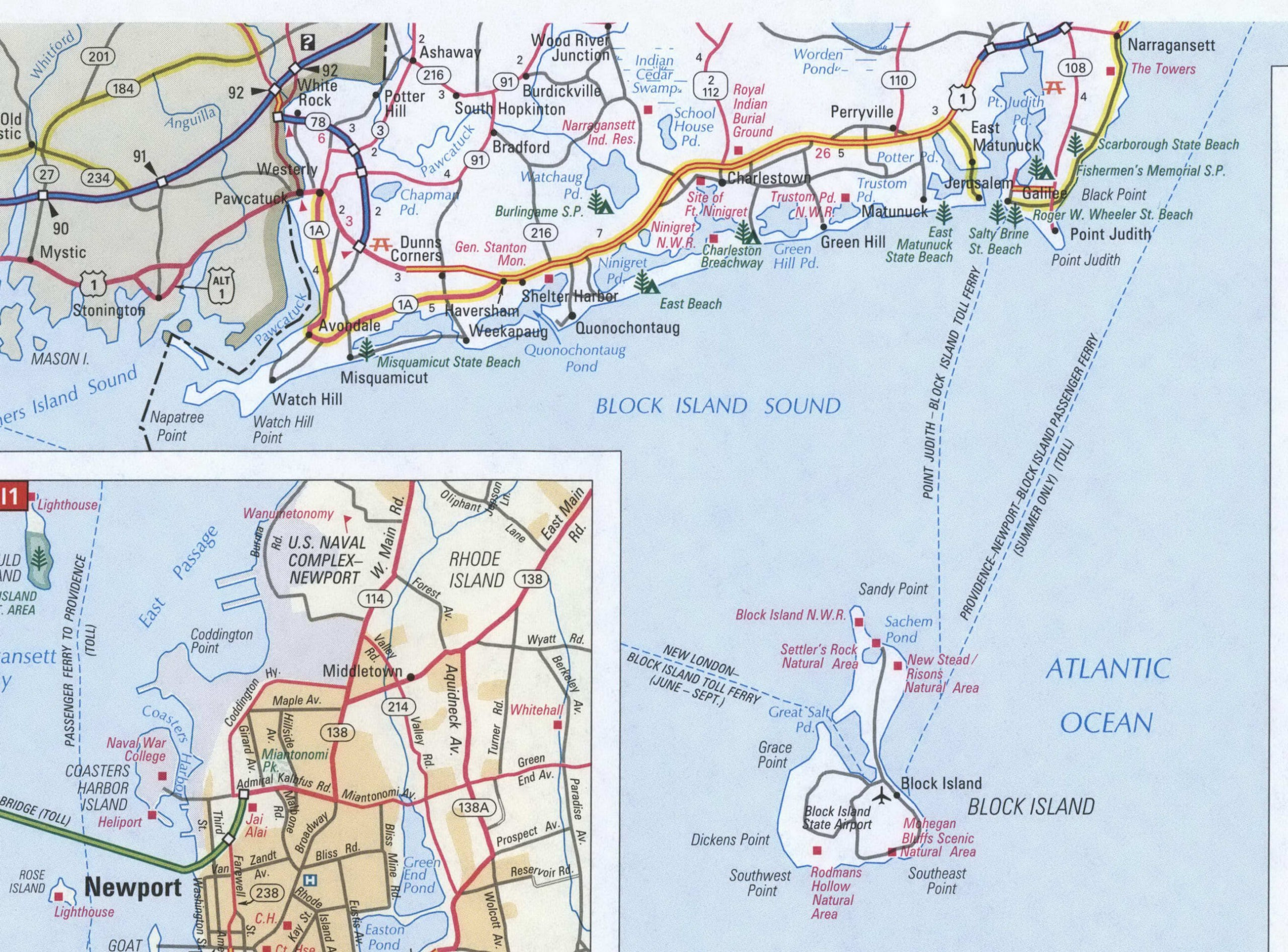 Rhode Island detailed map