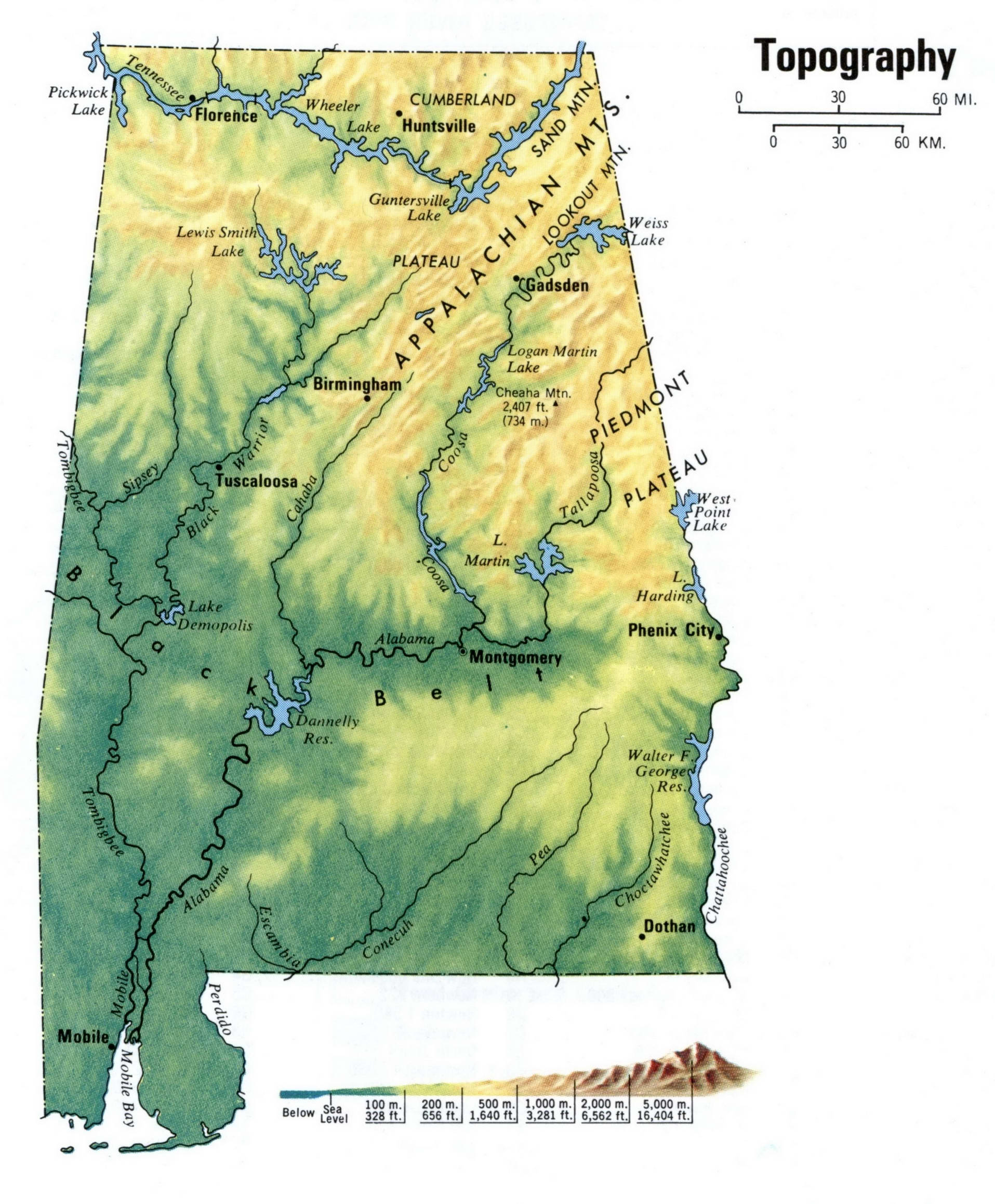 Alabama topographic map