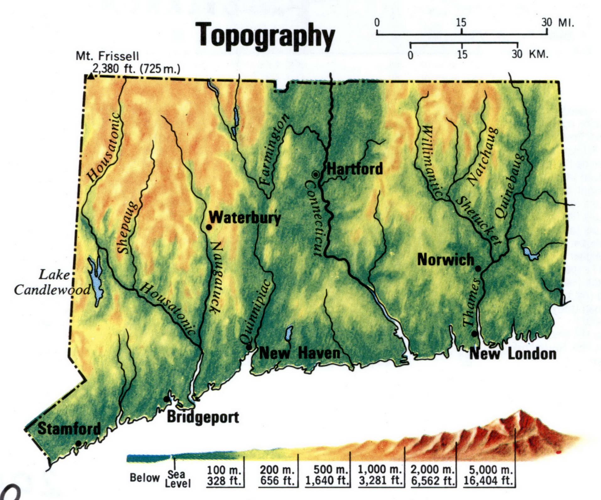 Connecticut topographic map