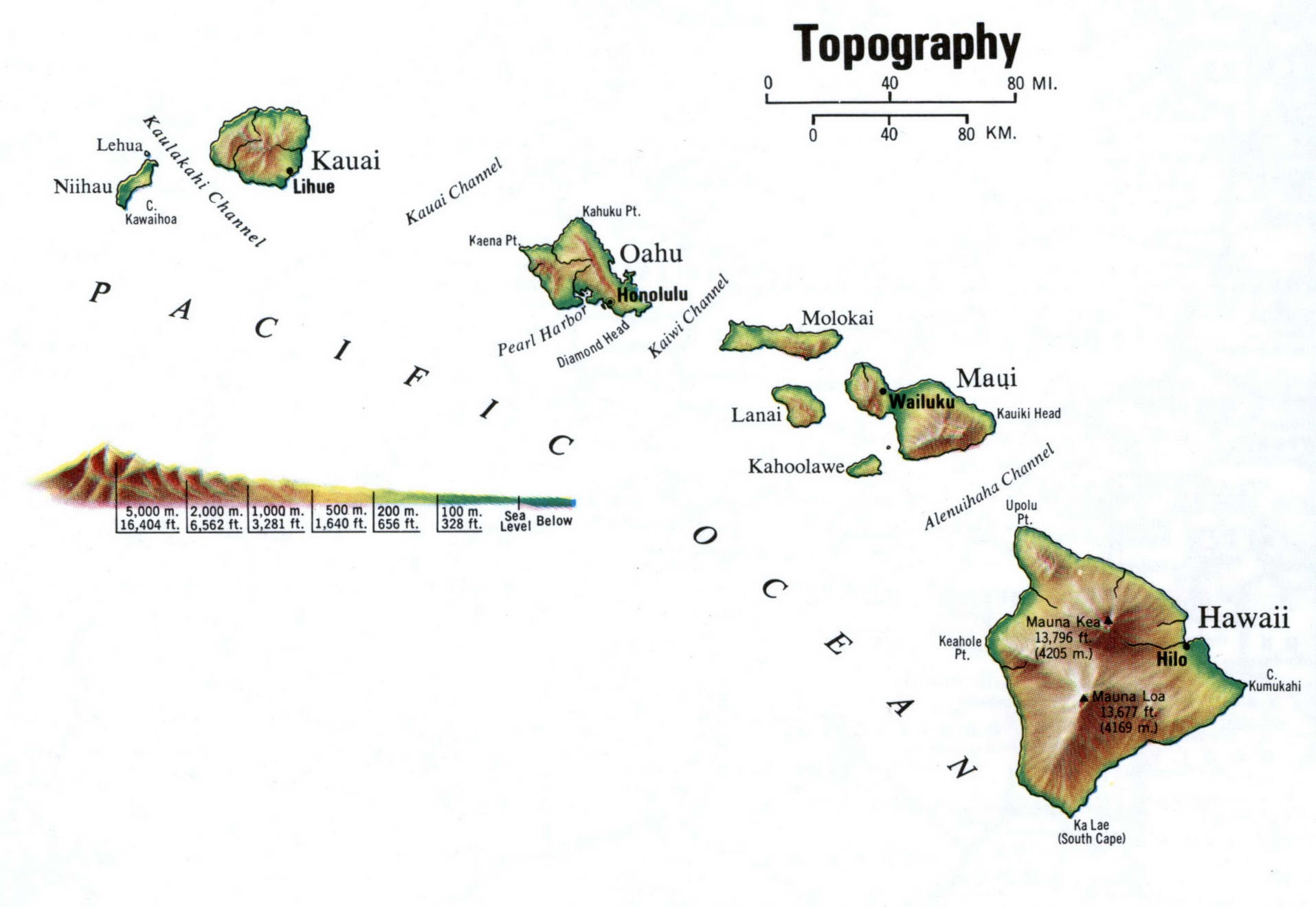 Topographic map Hawaii