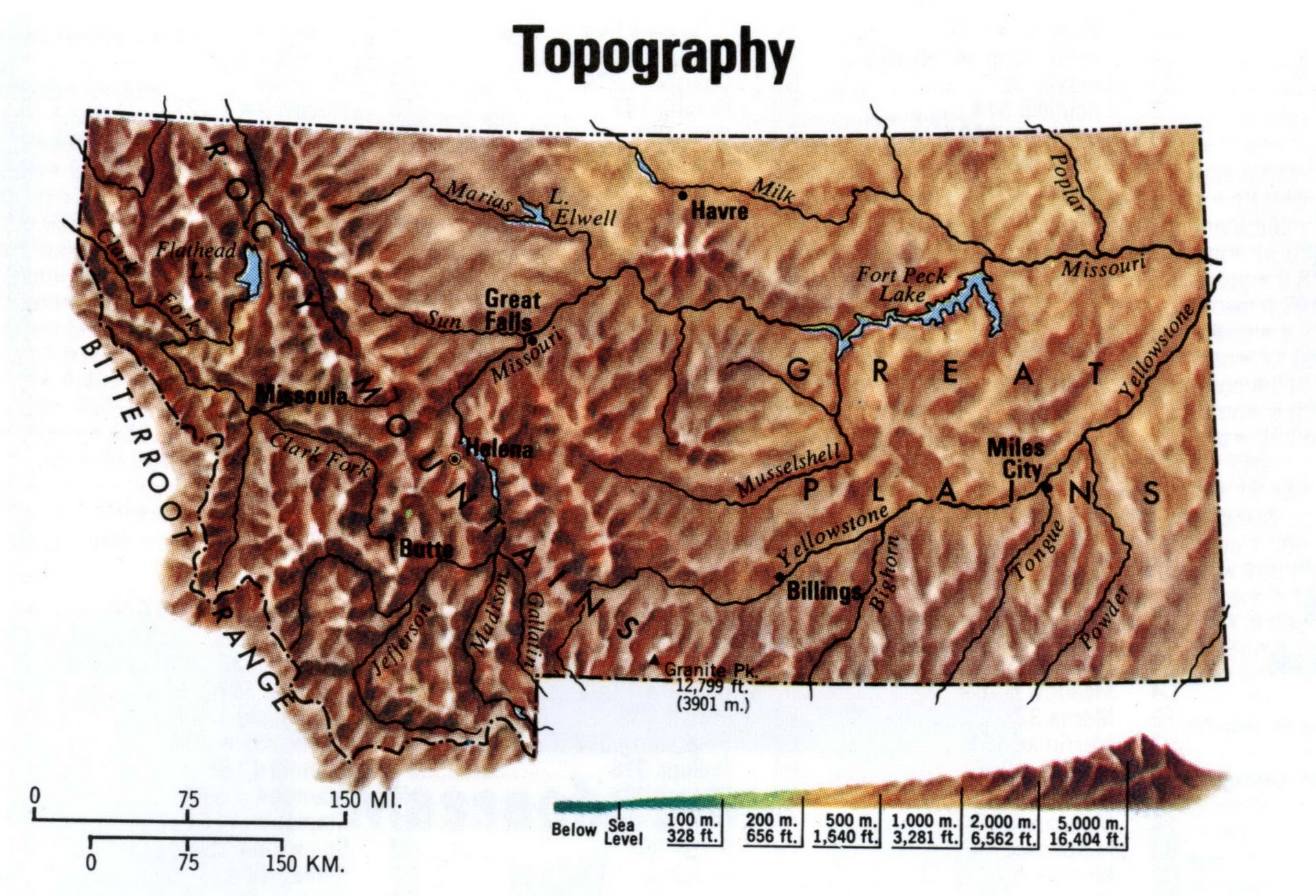 Montana topographical map