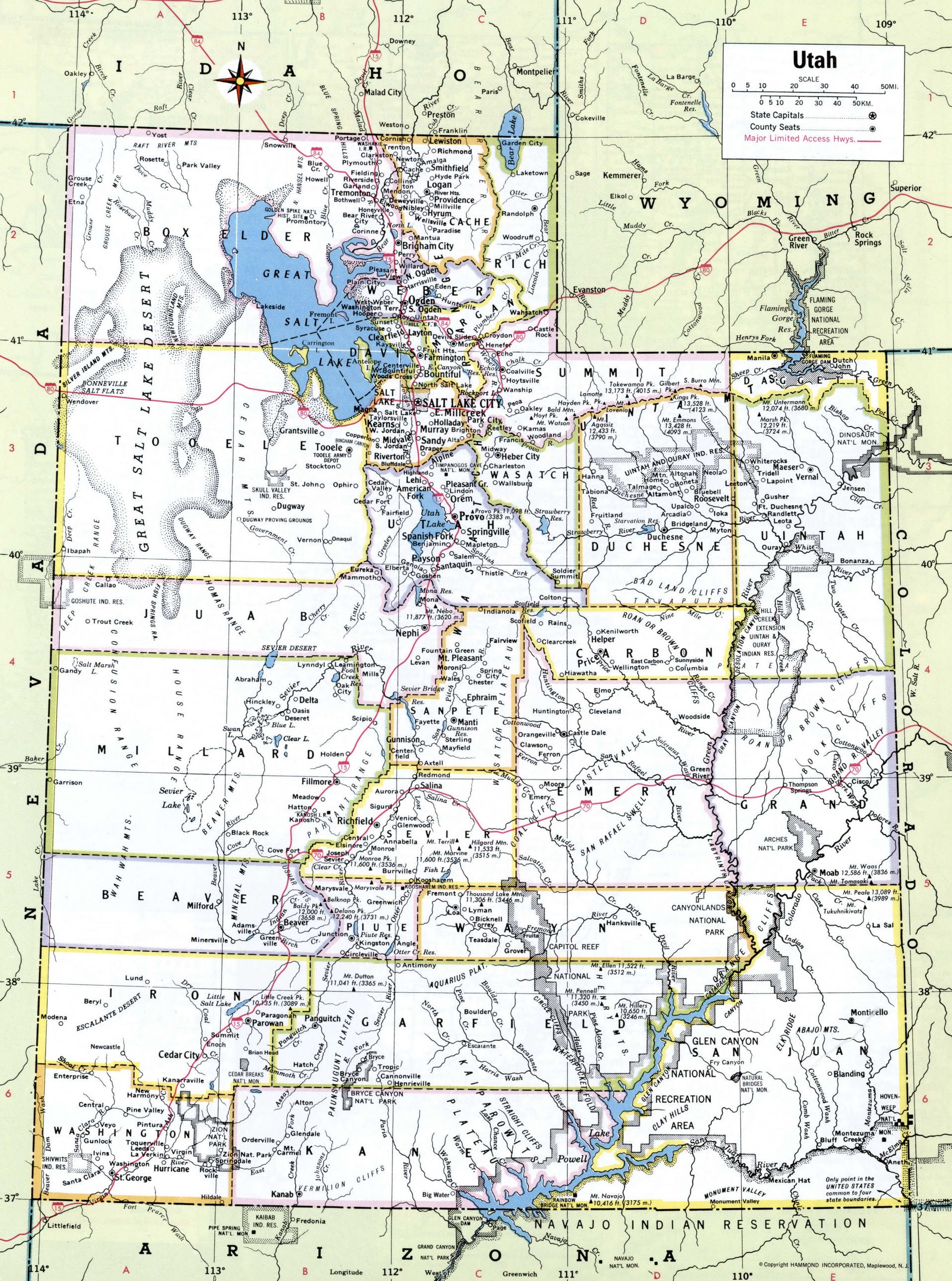 Utah map with counties