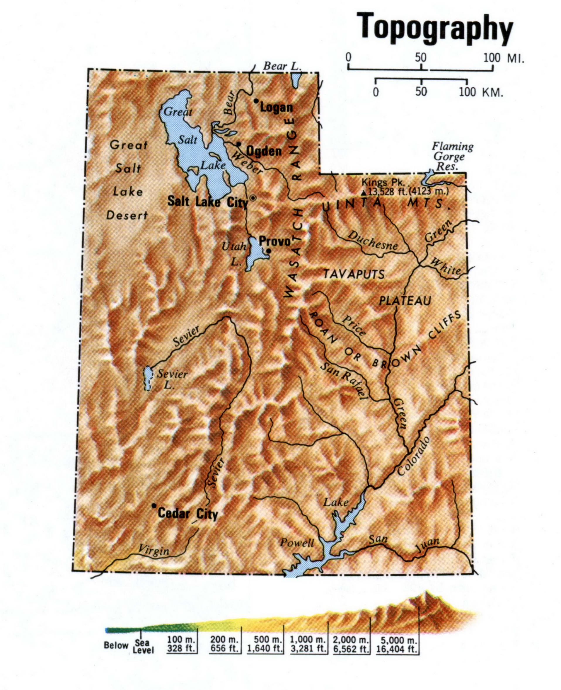 Utah topographical map