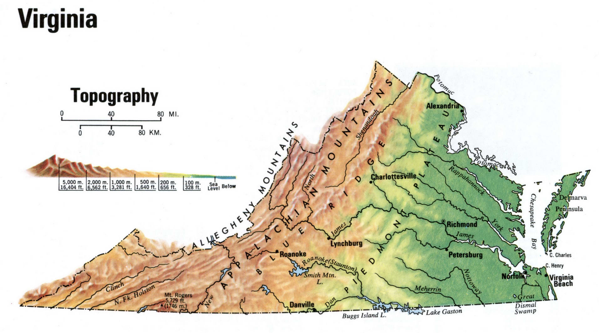 Virginia state topographic map