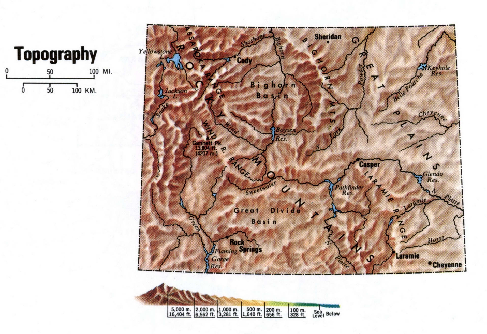 Wyoming topographical map