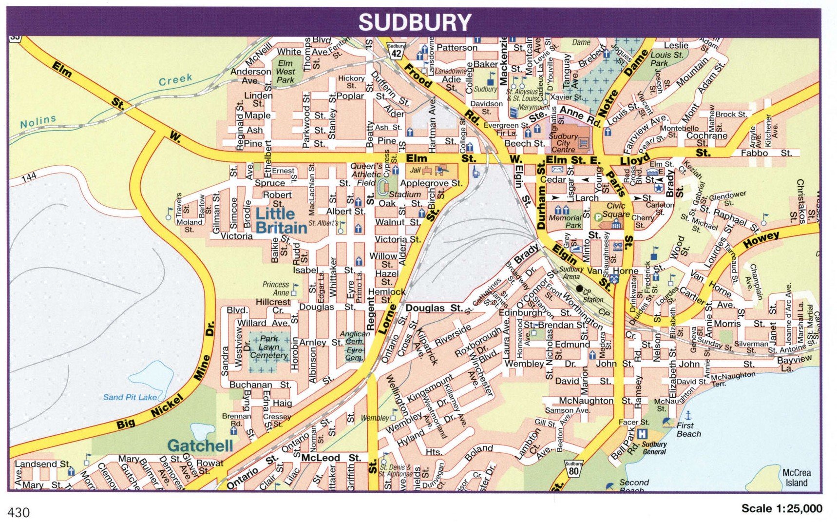Sudbury city map