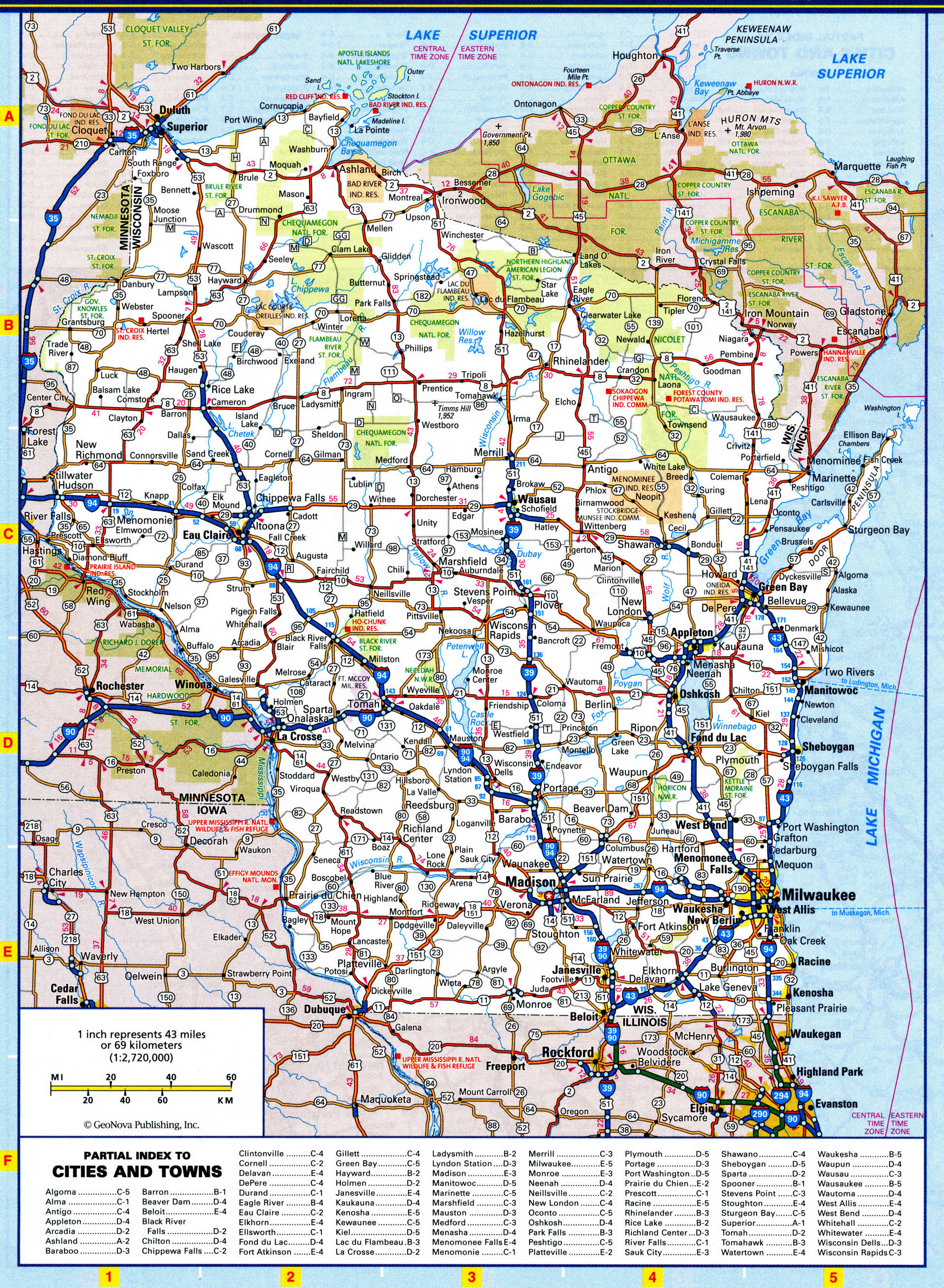 Wisconsin highways map