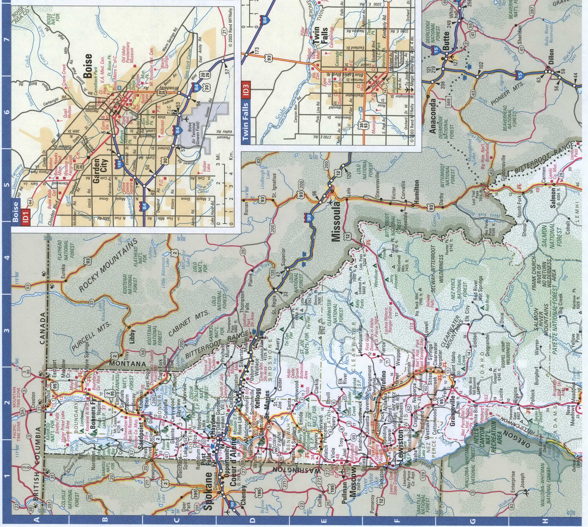 Idaho roads map