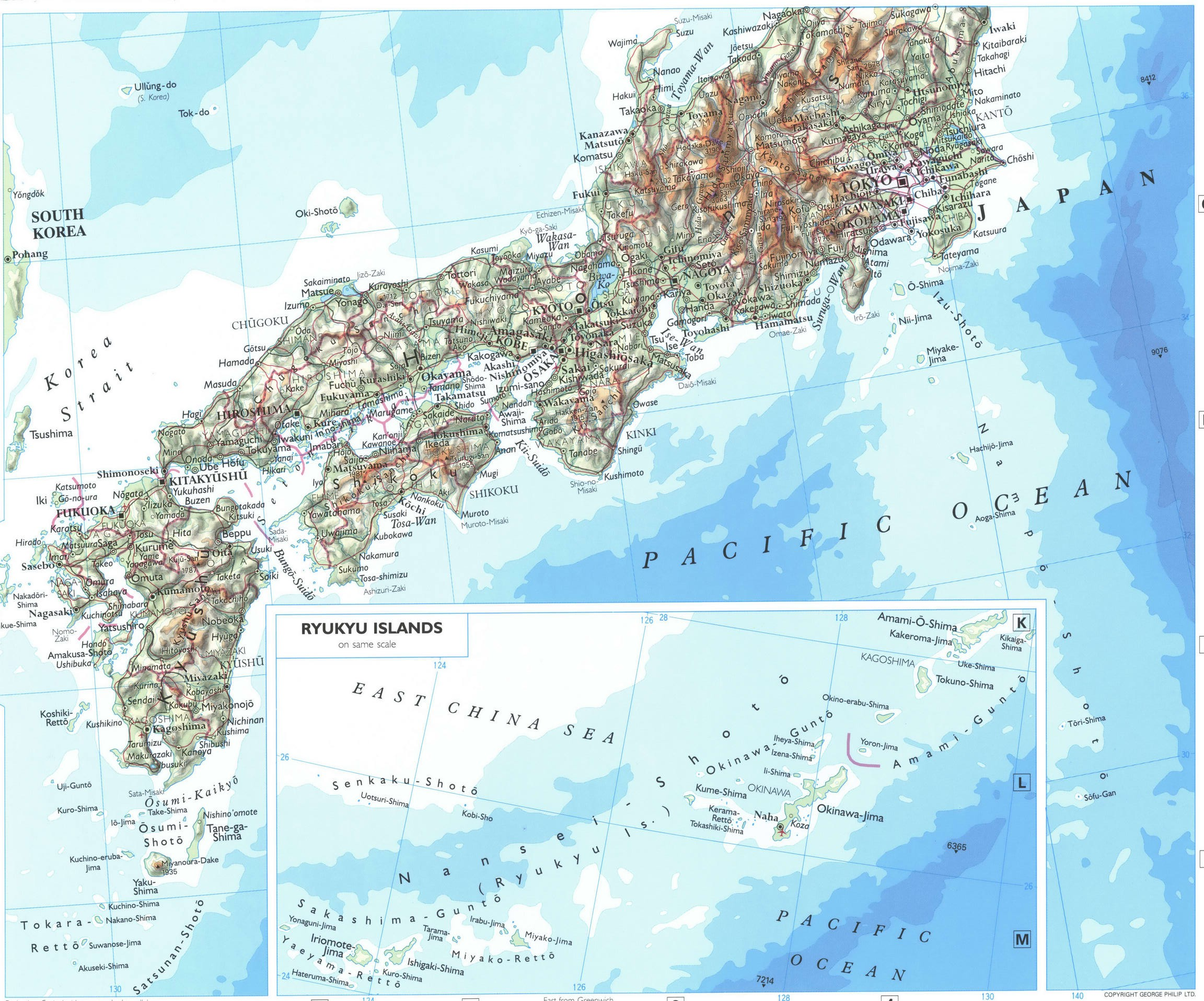 Map of Japan with cities and towns