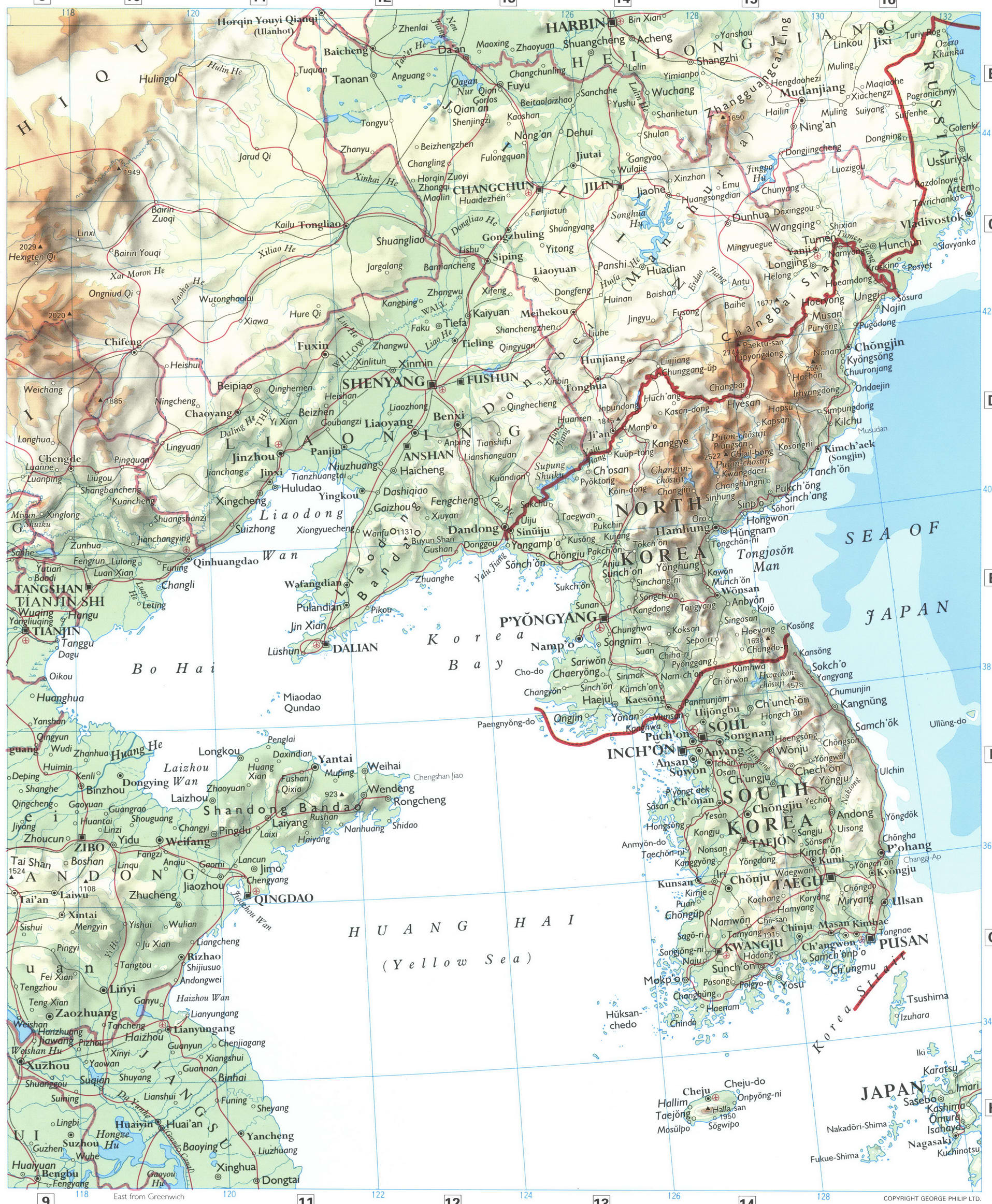 Korea and Northern China physical map