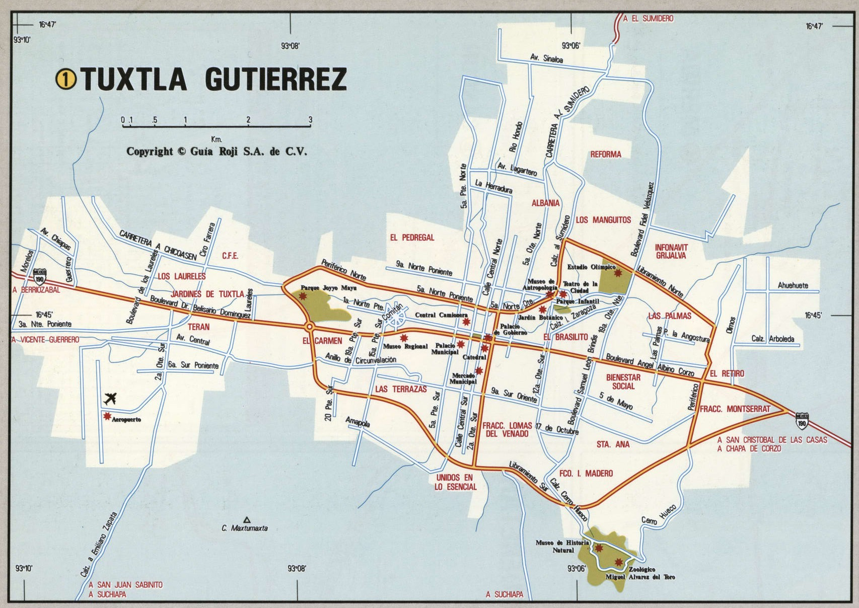 Tuxtla Gutierrez city map