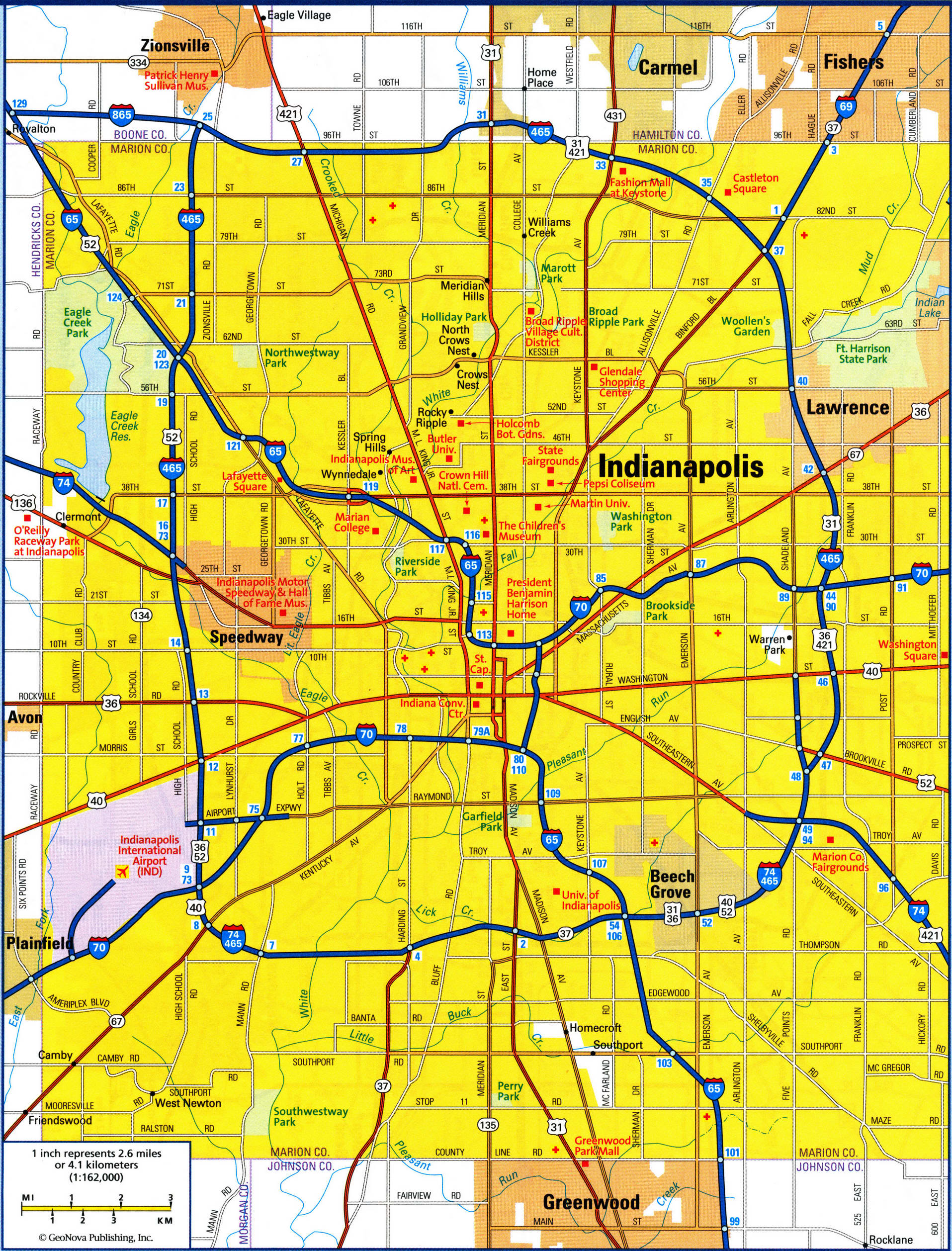 map of Indianapolis city