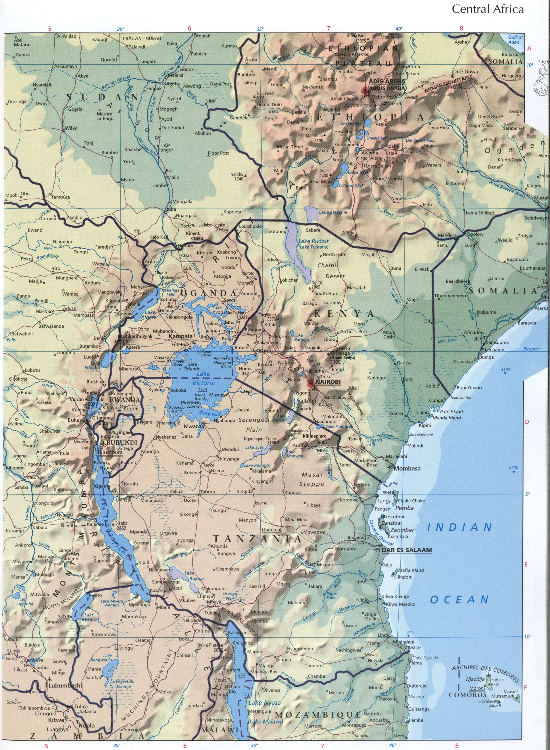 Central Africa map - east part
