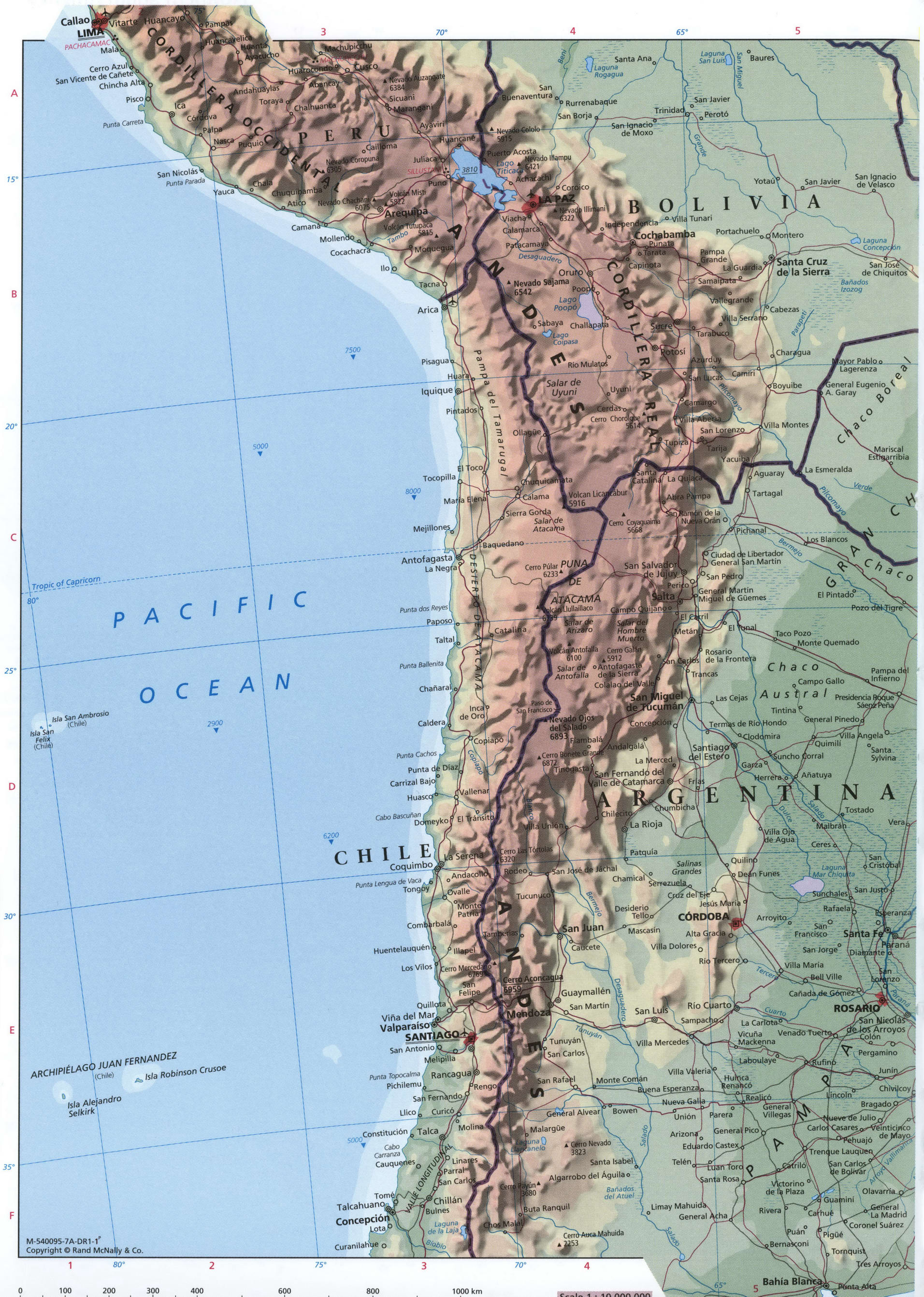 Central South America map - western part
